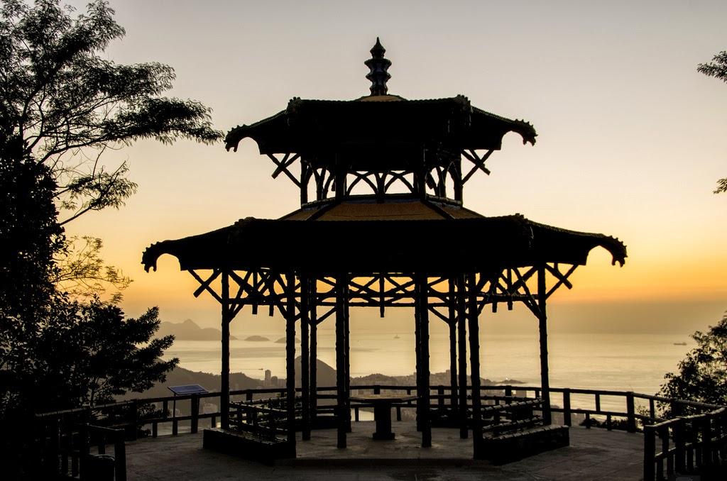 vista chinesa al tramonto